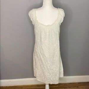 Max Studio White Cotton Eyelet Mini Dress L